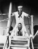 Two sailors standing on a gangway — Stock Photo