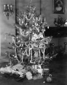 Woman hiding in a decorated Christmas tree — ストック写真