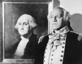 Portrait of George Washington with an impersonator next to the image — Stock Photo