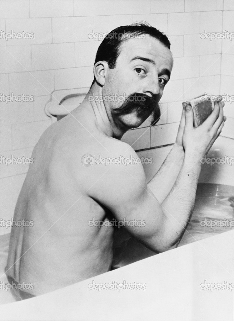 Portrait of man with huge mustache in bath — Lizenzfreies Foto #12292291