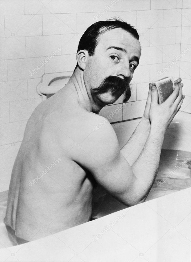 Portrait of man with huge mustache in bath — Stockfoto #12292291