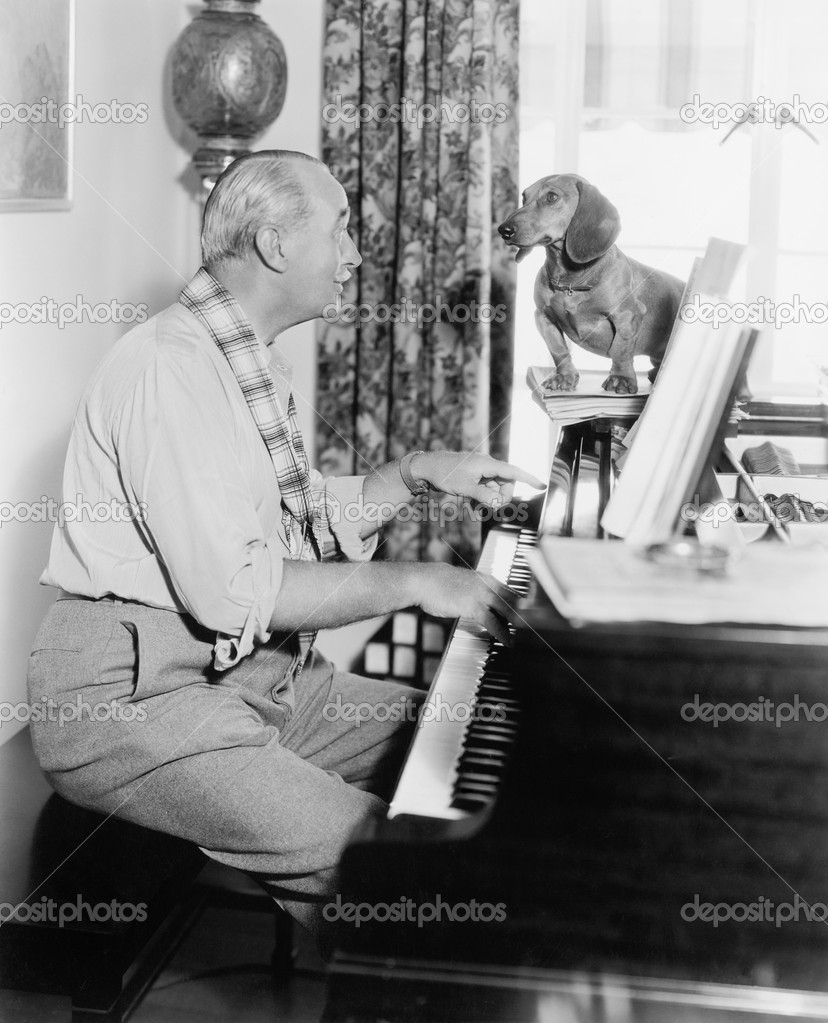 Man playing for his dog the piano   #12298303