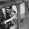 Woman hijacking train — Stock fotografie