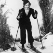 Woman in winter clothing skiing - Foto de Stock