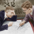 Stock Photo: Excited businessmen meeting with map