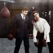 Winner and loser in boxing match — Stock Photo #12302547