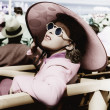 Womin big sun hat and sun glasses — Stock Photo #12302772