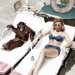 Chimpanzee and a woman sunbathing — Stock Photo