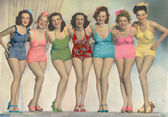 Women posing in bathing suits — Stok fotoğraf