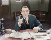 Portrait of happy friendly businessman — Stock Photo