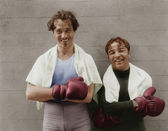Portrait of two boxers — Stock Photo