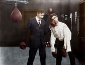 Winner and loser in boxing match — Stock Photo