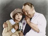 Boisson buvant couple avec paille — Photo