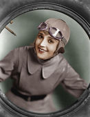 Portrait of female pilot — Stock Photo