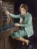 Portrét telefonní operátor — Stock fotografie