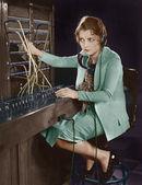 電話交換手の肖像画 — ストック写真