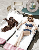Chimpanzee and a woman sunbathing — Stockfoto