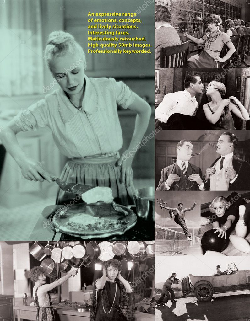Collage with black and white retro pictures — Stock Photo #12303233