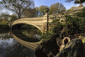 Bow bridge in spring Central Park — Stock Photo