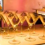 Empty martini glasses prepared for making cocktail — Stock Photo #12205645
