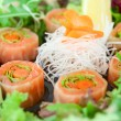 Royalty-Free Stock Photo: Sushi of daikon, carrot and salmon