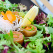 Salmon sushi with salad — Foto de Stock