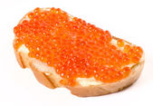 Sandwich with butter and salmon roe — Stock Photo