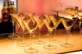 Empty martini glasses prepared for making cocktail — Stock Photo