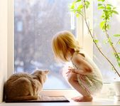 Girl and Cat looking out of the window — Stok fotoğraf
