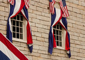 Bunting over Windows — Stock Photo