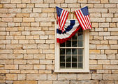 Bunting over Windows — Stok fotoğraf