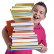 Happy boy with stack of books — Stock Photo