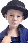 Cute boy with bowler hat — Stock Photo