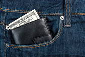 Wallet in pocket — Stock Photo