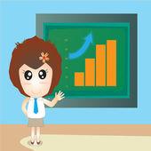 Office girl and blackboard — Stock Photo