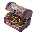 Coins in trunk — Stock Photo