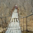 Old woman on hanging bridge 3 — Stock Photo