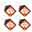 Stock Photo: Set of Orange Discount Labels