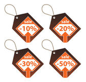 Set of Orange Discount Labels — Стоковое фото