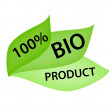 Green Label with Tag 100 per cent Bio Product — Stock Photo