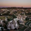 Goreme view over fields during sunset - Stock Photo