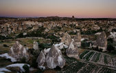 Goreme view over fields during sunset — Stock Photo