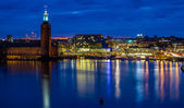 Stockholm cityhall skyline during night — Stock Photo