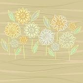 Flowers on wooden texture — Stock Vector
