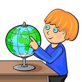 Niño con globo — Vector de stock