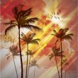 Stock Vector: Palm trees at sunset