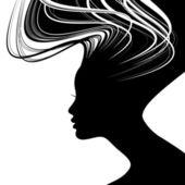 Kadının yüzü siluet — Stok Vektör