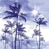 Palmbomen bij zonsondergang — Stockvector