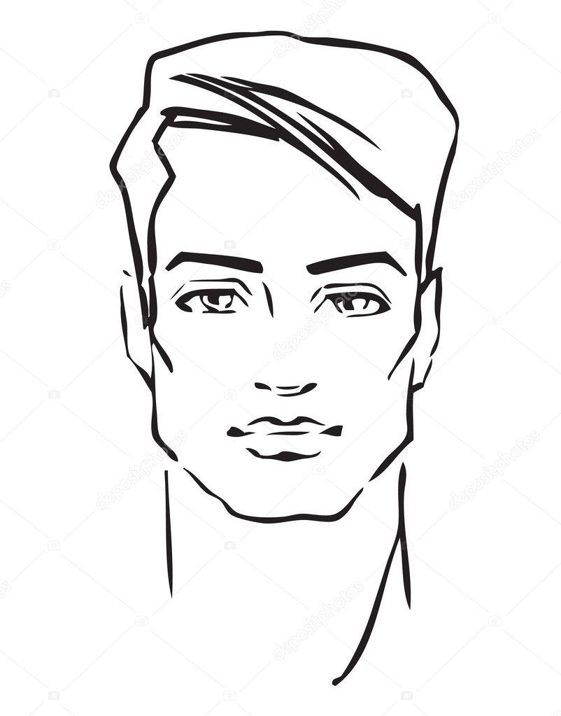 Man S Face Line Drawing : Adamın yüzü — stok vektör dahabians