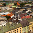 Bird's-eye view of the old town of Kracow, Poland. — Stock Photo